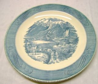 vtg currier and ives blue royal china round chop plate platter