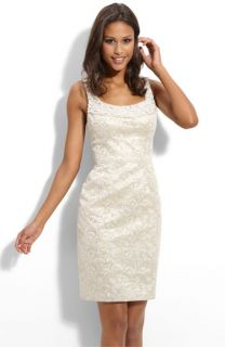 Maggy London Beaded Brocade Sheath Dress