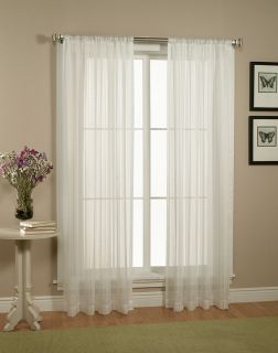 Pair Set of White Sheer Curtains Window Treatments Panels