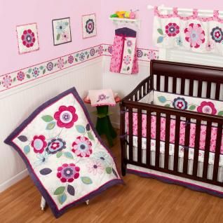 Floral Flowers Pink and Purple Baby Girls 5pc w/ Bumper Nursery Crib