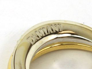 Designer Damiani Tri Color 18K Gold Diamonds Ladies Band Ring Size 6 3
