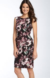 Donna Ricco Print Peplum Dress (Plus)