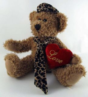 10 Dan Dee Plush Teddy Bear Stuffed Toy Animal Wearing Leopard Print