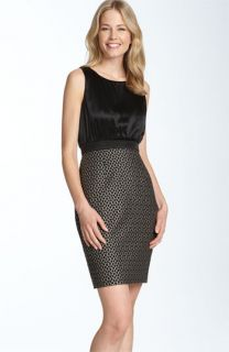 Adrianna Papell Charmeuse & Metallic Brocade Sheath Dress