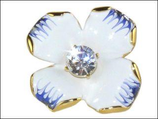 Kenneth Jay Lane KJL White Blue Enamel Flower Ring