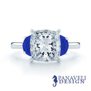 00 Ct Cushion Cut Diamond Half Moon Blue Sapphire Engagement Ring
