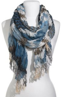 David & Young Stripe Crinkled Gauze Scarf