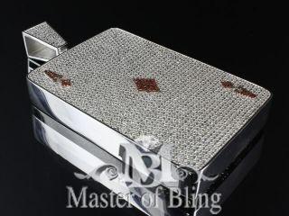 Custom Iced Lab Diamond Ace Card Charm Necklace Pendant 14k White Gold