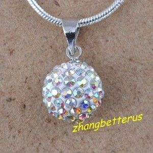 Czech Crystal Pave Disco Ball Beads friendship Necklace Pendants