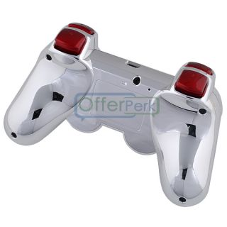 New Chrome Silver Custom Shell Case for PS3 Controller with Red