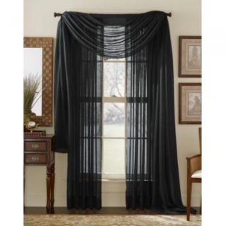 HLC.ME   4 PCS. of Black Sheer Curtains Window Treatment Panel