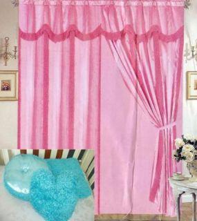 Turquoise Poodle Window Treatment Curtains Drapes Panel Set New