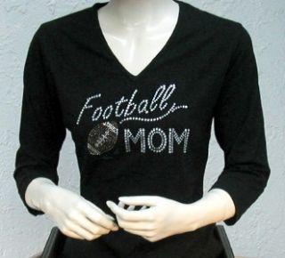 Embellished Rhinestone Tee Shirt Football Mom Design
