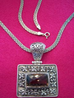 VINTAGE ARYA STERLING SILVER DIAMOND CUT AMETHYST CRYSTAL NECKLACE