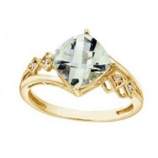 Cushion Cut Green Amethyst Diamond Ring 14k Yellow Gold