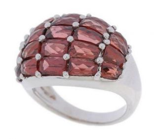 QVC Sterling Silver Garnet Checkerboard Cut Dome Ring 9 Affordable Hot