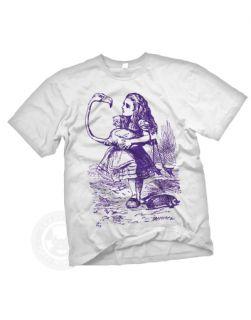 FLAMINGO CROQUET Vintage Alice in Wonderland book T Shirt nwt S, WHITE