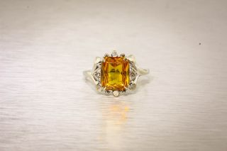 Deco 1930s 5ct Natural French Cut Citrine Diamond 10k White Gold Ring
