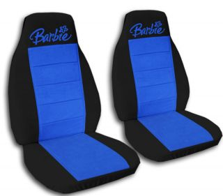 Cute Car Seat Covers Velour Black and Blue with Barbie