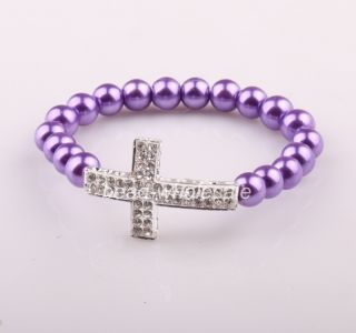 Chain with Two Row Crystal Cross Elastic Bracelet for Women