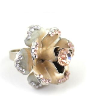 Sweet Lovely Cute Flower Rings Girls Rhinestone Jewelry Ring Size 5