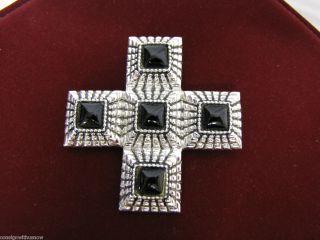 St John Silver Black Cross Necklace Brooch Pin