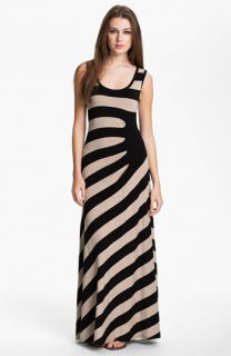Calvin Klein Asymmetrical Stripe Maxi Tank Dress