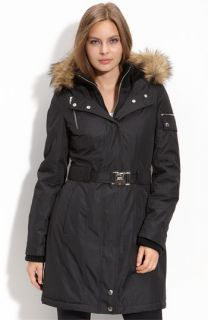 M60 Miss Sixty Quilted Anorak with Faux Fur Trim