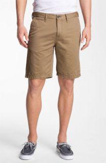 Burberry Aldgate Flat Front Cotton & Linen Shorts