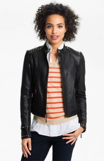 Two by Vince Camuto Studded Faux Leather Moto Jacket