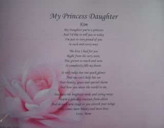 Card Personalized Poem Birthday Gift Idea Pink Rose Print