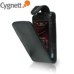 New Cygnett Black Leather Flip Case for Blackberry Storm 9250 9550