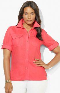 Lauren Ralph Lauren Roll Sleeve Linen Shirt (Plus)
