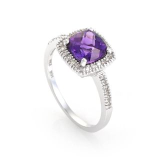 14k White Gold Cushion Cut Amethyst Diamond Ring