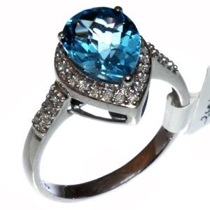 Gold Diamond Checkerboard Cut Pear Swiss Blue Topaz Ring Size 7