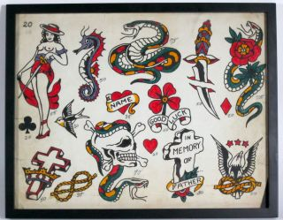 Vintage Tattoo Flash Antique Folk Art Low Reserve