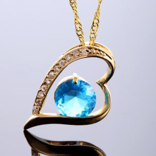 HEART SHAPE ROUND CUT AQUAMARINE PENDANT NECKLACE NECK CHAIN