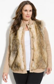 MICHAEL Michael Kors Faux Fur Front Cardigan (Plus)