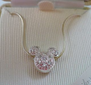 Sterling Silver CZ Pave Mickey Mouse Icon Necklace Walt Disney World