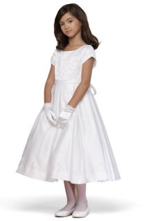 Us Angels Bead Embroidered Cap Sleeve Satin Dress (Little Girls & Big Girls)