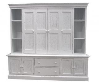 Coastal Cottage Style Maybank Wall Unit Entertainment Center Solid