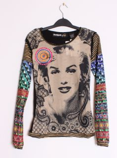 Desigual Womens TS Doblo Lacroix Marilyn Monroe Bold Graphic LS Tee