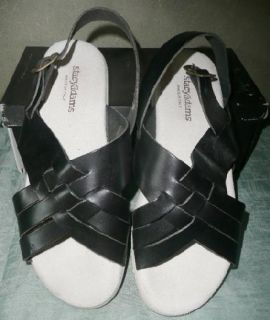 New Never Worn Mens Black Leather Vtg 23927 Sandals Stacy Adams Shoes