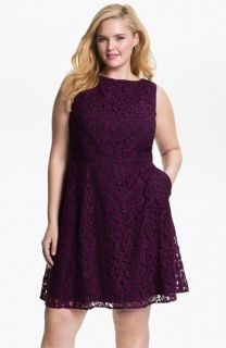 Adrianna Papell Lace Fit & Flare Dress (Plus)