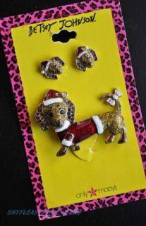 Christmas Dachshund Brooch Earrings Set Pin Santa NEW Doxie Dog
