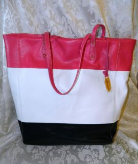 Cynthia Rowley Black/White & Pink Color Block Leather Tote/Shopper NWT