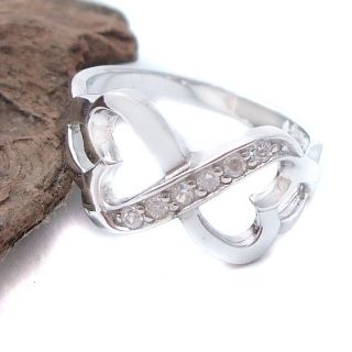 Infinity Connected Loving Heart CZ 925 Silver Ring 10