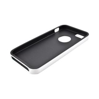 For Apple iPhone 5 Black White Crystal Silicone Case w Bumper