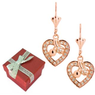 Rose Gold Pave Crystal Heart Cherries Drop Earrings