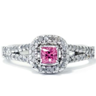 90ct Princess Cut Pink Sapphire Halo Diamond Split Shank Engagement